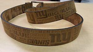 New York Giants Crazy Horse Embossed Slogan Mens Leather Belt Brown Tan NFL 32
