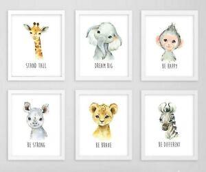 6 Jungle Animals Nursery Prints Dream Big Be Brave Quotes Nursery Art 619-A