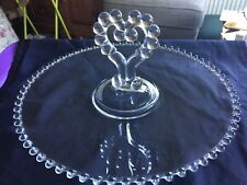 Old Imperial Candlewick Glass Cake Plate,Sandwich Plate,Heart Handle,Beaded