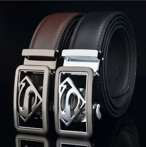 luxury Mens Belt real Leather For Superman Automatic buckle belt Ratchet Belts