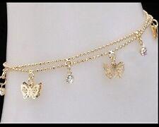 """9ct 9K  """" Gold Filled """"  made with Swarovski Bracelet ANKLET 8.8"""" - 10.5 """" b318g"""