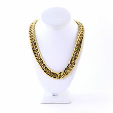 Mens Heavy Large 14K Gold Plated Miami Cuban Stainless Steel Chain 18.5mm 24''