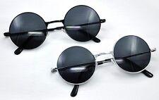 SG51 Classic Retro Round Frame Silver or Black Metal 1960s Fashion Sunglasses