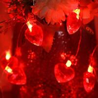 Valentine's Day Red Heart String Light, 30 LED 10 ft Battery Operated Twinkle