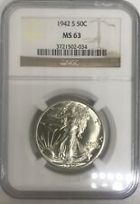 1942 S WALKING LIBERTY HALF DOLLAR 50 C NGC MS 63. SHIPS FREE.