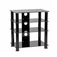 MMT Hi Fi stand rack black glass 4 shelf av support unit for hi-fi separates