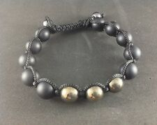 MEN'S Matte Black Onyx Silver Pyrite Gemstone Beaded Shamballa Jewelry Bracelet