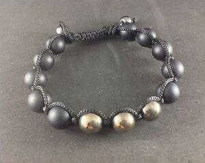 MEN'S Matte Black Onyx Silver Pyrite Gemstone Beaded Shambhala Jewelry Bracelet