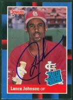 Original Autograph of Lance Johnson of the Cardinals on a 1988 Donruss Card