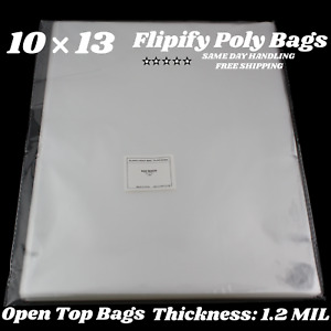 10x13 CLEAR POLY BAGS Large Plastic Packaging Open Flat Packing T-Shirt Apparel