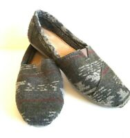 Toms Gray Red Aztec Fleece Lined Flats Slip On Comfort Shoes Womens Size 8.5
