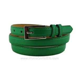 """Skinny Plain Leather Belt with Stitched Edge Solid Jeans Unisex Mens Narrow 3/4"""""""
