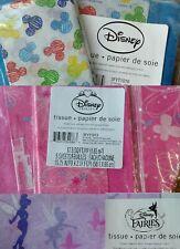 3 Packs Disney Tissue Gift Paper Mickey Mouse Princess Fairies Hallmark Rare Nip