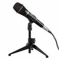 Table Microphone Tripod Stand Adjustable Metal Desk Top Mic Clamp Clip Holder