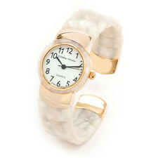 Horn Tortoise Gold Flex Band Women's Bangle Cuff Watch