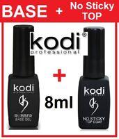 Rubber BASE + No Sticky TOP 2pcs 8ml. Kodi Professional Gel LED/UV Coat Soak Off