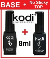 Rubber BASE + No Sticky TOP 2pcs 8ml. Kodi Professional Gel LED/UV Coat Soak Off