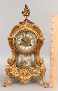 Antique American Waterbury, Gold Gilt Figural French Clock, Porcelain Painting