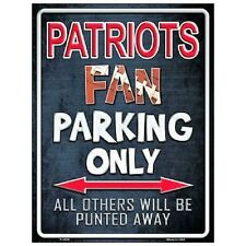 "New England Patriots Fan Parking Only Novelty Metal Parking Sign 9"" x 12"""