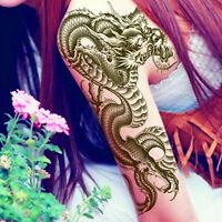 3D Black Dragon Removable Waterproof Temporary Tattoo Leg Body Art Sticker Ut