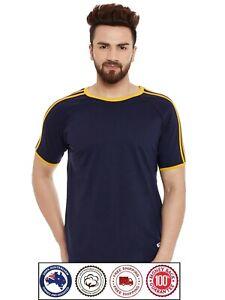 Short Sleeve Cotton T-Shirt - Yellow Shoulder lines Boat Neck Apple Cut