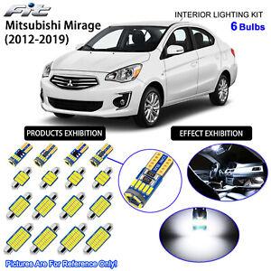 6 Bulbs LED Interior Dome Light Kit Cool White For Mitsubishi Mirage 2012-2019