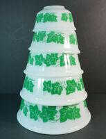 Set of 5 Vintage Hazel Atlas White Milk Glass Green Ivy Nesting Mixing Bowls