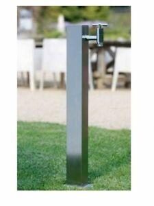 Zapfsäule/Wasserstele aus Edelstahl V2A eckige Form Ideal Eichenwald