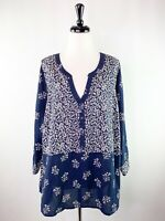 Lucky Brand Navy Blue V-Neck Blouse Top 3XL White Floral Pattern Shirt