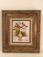 Vintage Framed Signed Medina Oil Painting Floral Retro Still Life