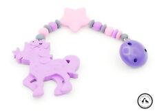 ♥ Beisskette aus Silikon ★ Einhorn/Stern in grau/lila/rosa - Silikonkette ♥ NEU