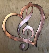 Music Treble Clef in Heart Copper Patina Finish Metal Wall Art Hanging