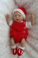 "Doll Clothes Handknitted red-white 3 pc romper Set for 10"" 11""12"" fit A. Drake"