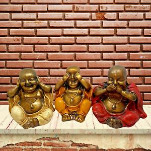 Set x 3 Wise Happy Buddhas See No Speak No Hear No Evil Ornament Figure Separate