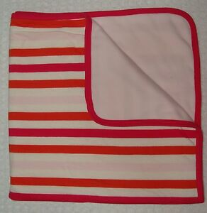 Old Navy Micro Fleece Stripe Baby Girl Blanket Hot Pink White Reversible 30x30""