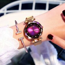 Luxury Rose Gold Women Watches Fashion Diamond Ladies Starry Sky Magnet Watch