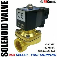 "3/4"" NPT 12-VOLT DC Brass Electric Solenoid Valve, Seal NBR: Air, Water, Oil N/C"