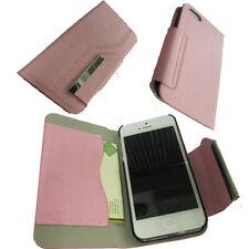 Para Iphone 5 5g Libro Flip Cartera Cover Funda ranura para tarjeta Adorno De Metal Rosa del Reino Unido