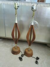 Pair of Mid Century Modern  Wood Table Lamp 1960's