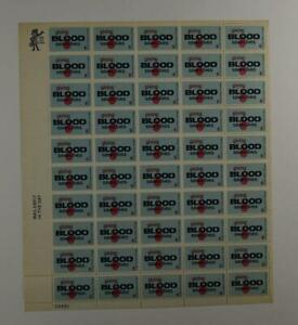 US SCOTT 1425 PANE OF 50 GIVING BLOOD STAMPS 6 CENT FACE MNH