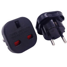UK To EU Euro Europe European Travel 2 Pin Mains Adapter Power Double Plug Black