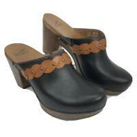 Dansko 41 1800027800 Ranch Black Leather Brown Strap Mules Clogs Size 10.5