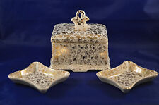 China 24 Kt Gold Trinket Box W/ Two Matching Trays Flower Design #Y