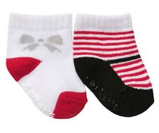 Set 2 of 12-24 mons Christmas Holiday Socks Red Candy Stripes & Silver Bow NWT
