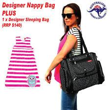 Black Baby Nappy Bag PLUS Designer Organic Cotton Baby Sleeping Bag 6-18 months