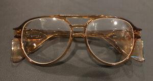 "Vintage Brown AEROSITE Z87 A.O SAFETY GLASSES 5 3/4"" SIDE SHIELDS"