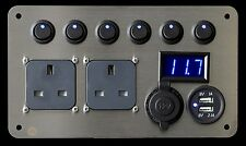 Volkswagen T5 Campervan 2.1A USB x2 240 x6 Switches LED Voltmeter Aux Socket