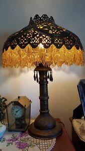 1900-19 Rare Turkish Pierced Brass & Mica Antique Lamp