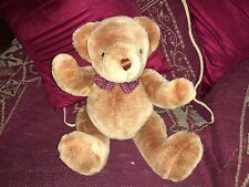 "VINTAGE 16"" PEEKO JOINTED CHOCOLATE BROWN TEDDY BEAR SOFT TOY WITH CHECK BOW VGC"