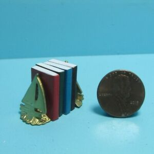 Dollhouse Miniature Sailboat Bookends Includes 4 Books with Pages ISL5101